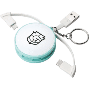 white and light blue 3-in-1 charging cable keyring