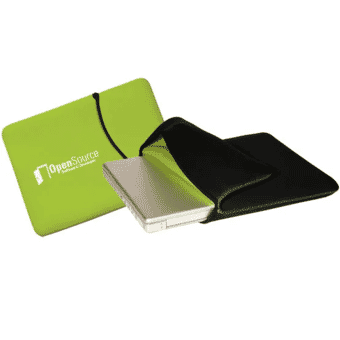 green and black reversible laptop sleeve