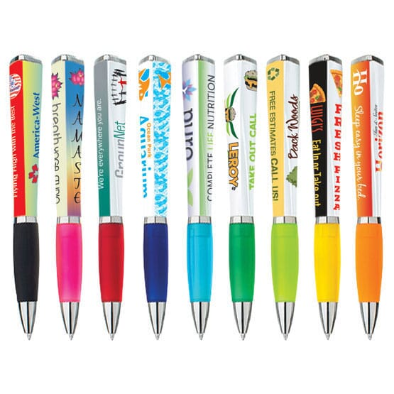 Triangular billboard pens with colorful imprints