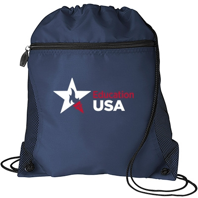 Navy drawstring bag with state agency logo
