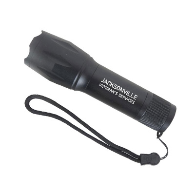 Black Cree LED flashlight with military logo