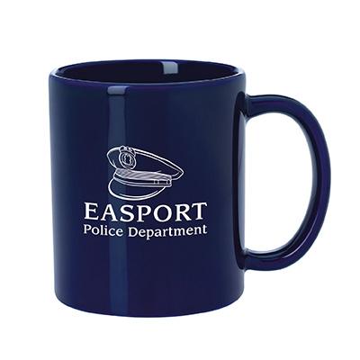 Navy coffee mug with police logo