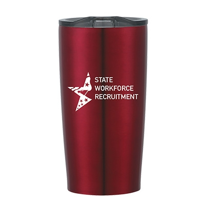 Red insulated tumbler with state agency logo