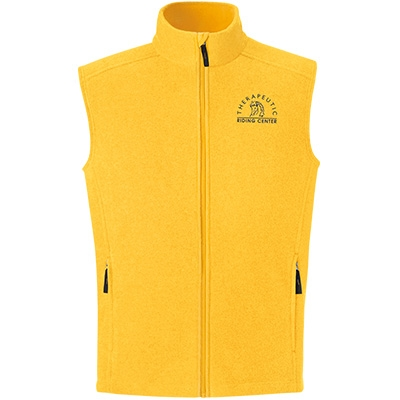 Yellow fleece vest with agriculture logo