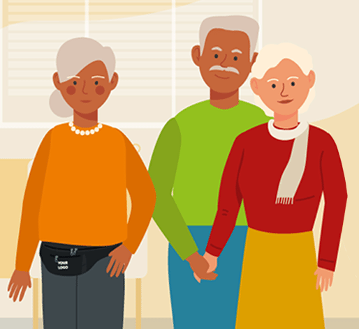 Illustration of seniors in home health and hospice care