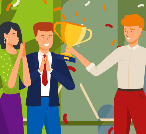 Illustration of person receiving an award