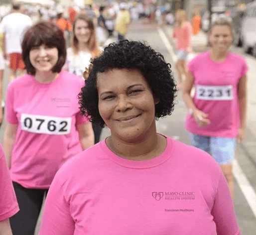 breast cancer awareness walkers wearing custom t-shirts