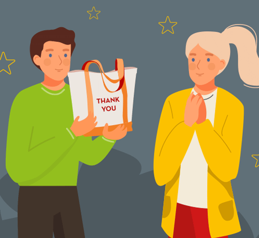 Illustration of person receiving a customized gift