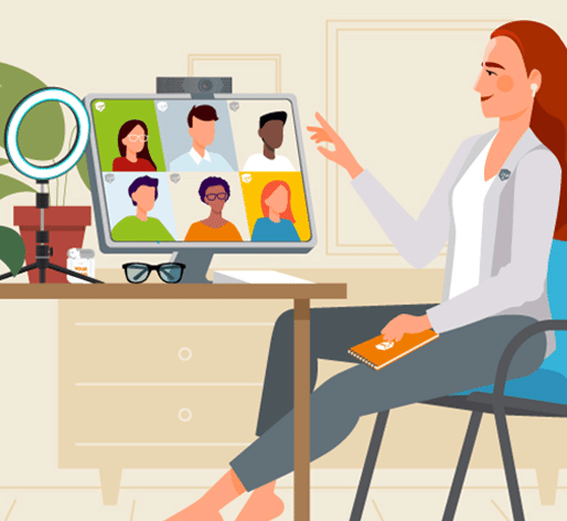 illustration of video call office setup