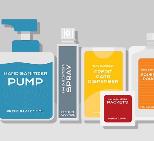 A variety of hand sanitizer styles