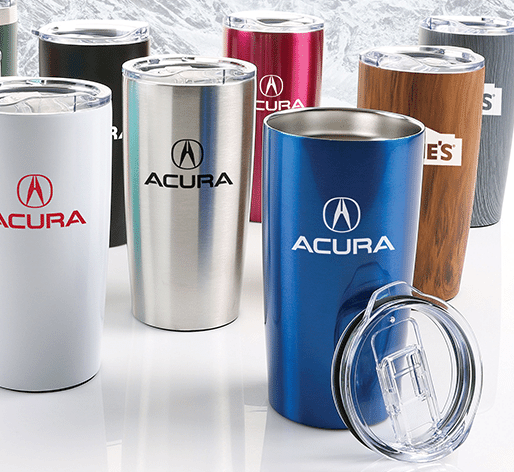group of customized drinkware