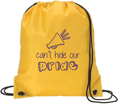 Athletic yellow drawstring bag