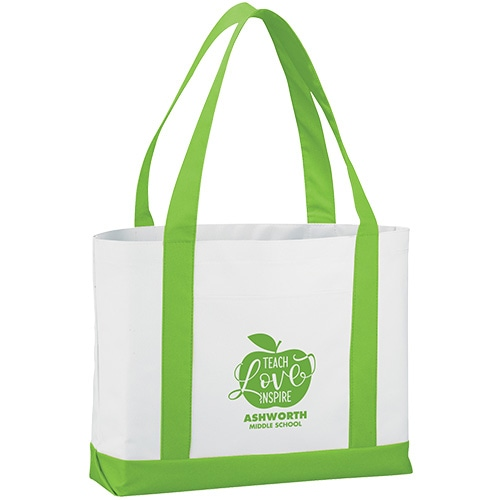 Tote bag with bright green accent colors
