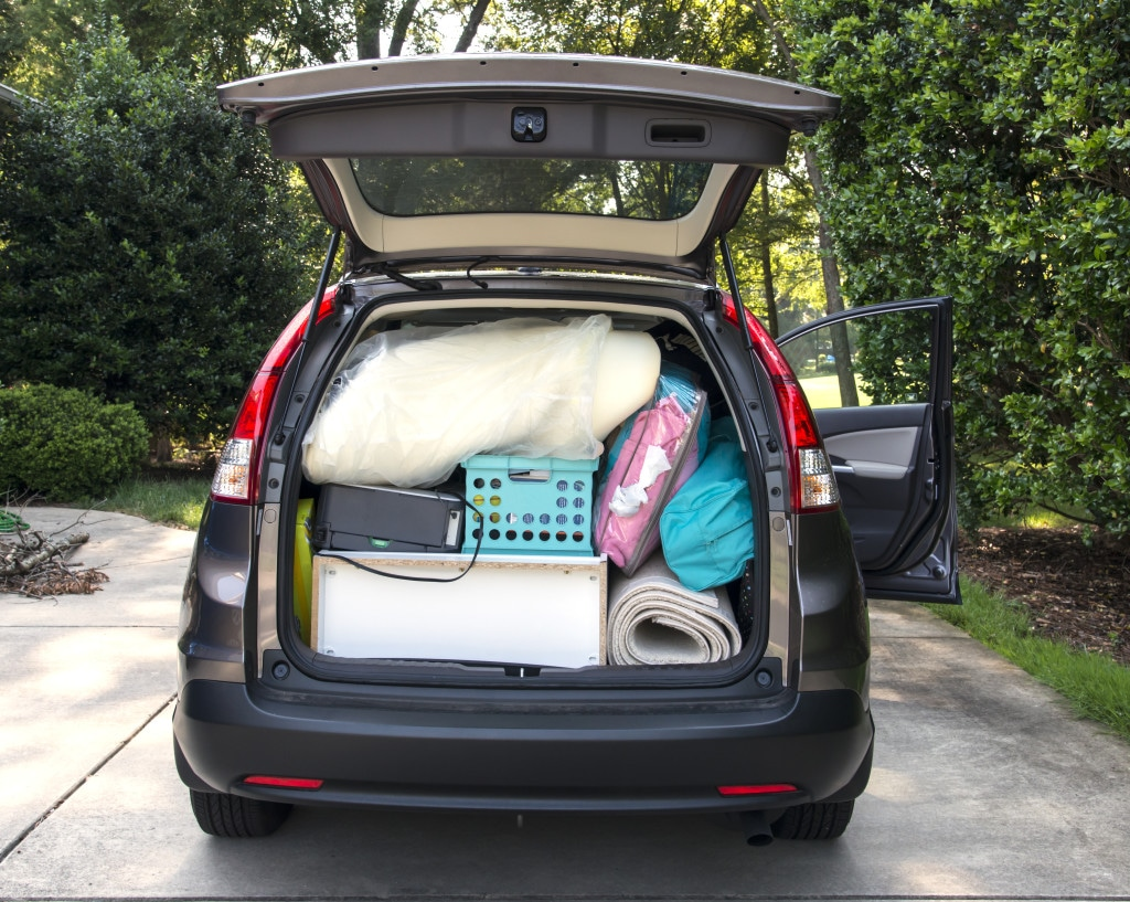 Packing up car to move to college