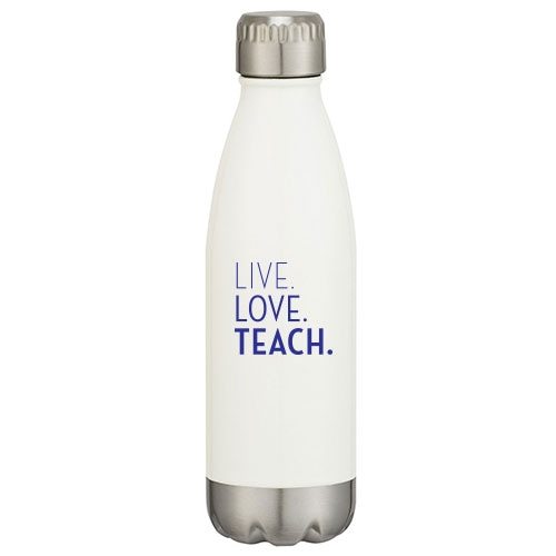 White insulated tumbler with educational slogan