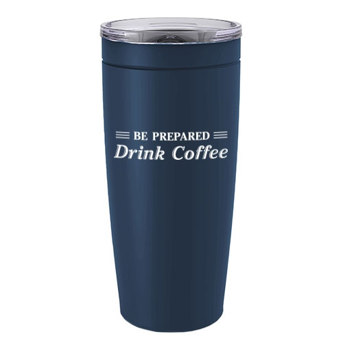 Navy blue insulated tumbler with government slogan