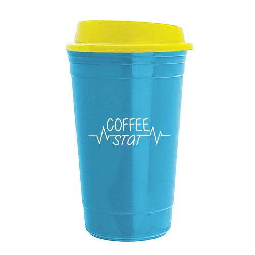 Blue reusable coffee cup with yellow sip-thru top and medical slogan