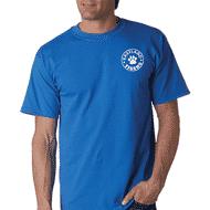 Man wearing royal blue t-shirt with school logo