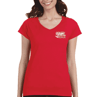 Woman wearing red t-shirt with school logo
