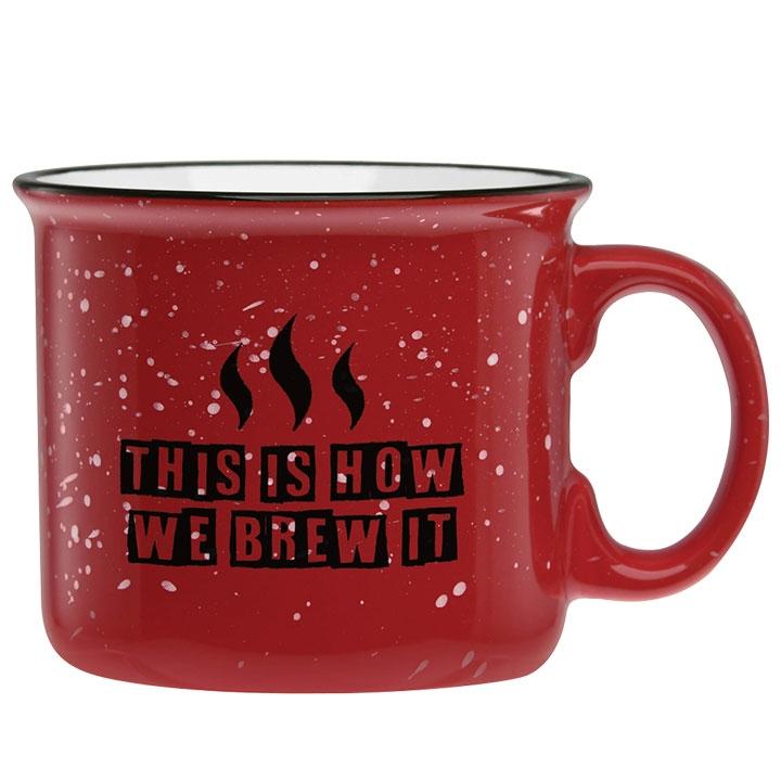 Camp coffee mug with fun coffee saying