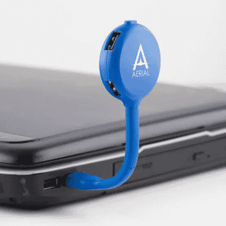 blue bendy usb hub with 4 ports