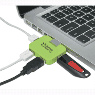 green usb hub in laptop computer