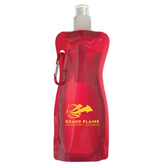 Red transparent plastic water bottle with attached red carabiner and white push/pull lid covered with a clear plastic cap