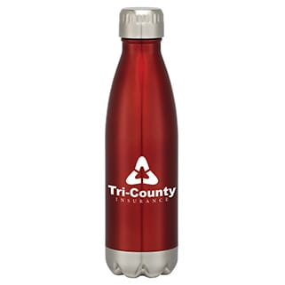 Red stainless steel water bottle with white logo, silver base and silver screw-on lid
