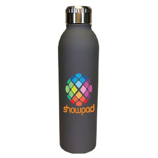 Gray stainless steel water bottle with rainbow-colored logo and silver screw-on lid