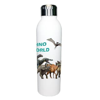 White stainless steel water bottle with wrapped design of dinosaurs and a silver screw-on lid