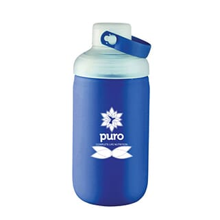 Frosted glass water bottle with blue silicone sleeve, white logo, screw-on cap and blue carrying handle