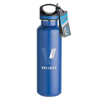 Blue stainless steel water bottle with black screw-on lid and engraved silver logo