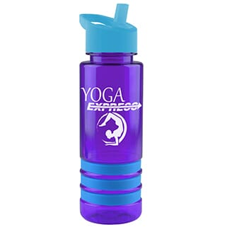 Purple plastic water bottle with blue stripes, white logo and blue flip straw lid