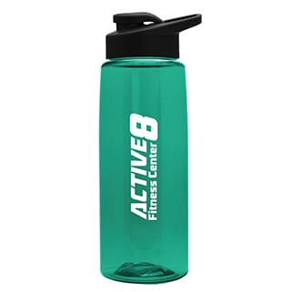 Green transparent plastic bottle with white logo, black flip-top lid and black carrying handle