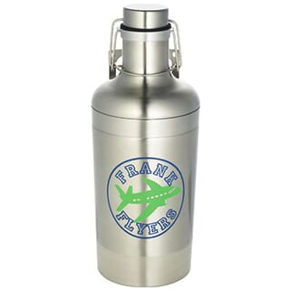 Silver stainless steel water bottle with blue and green logo, carrying handle and hinged lid