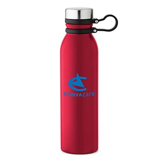 Red stainless steel water bottle with blue logo, black carrying strap and silver screw-on lid