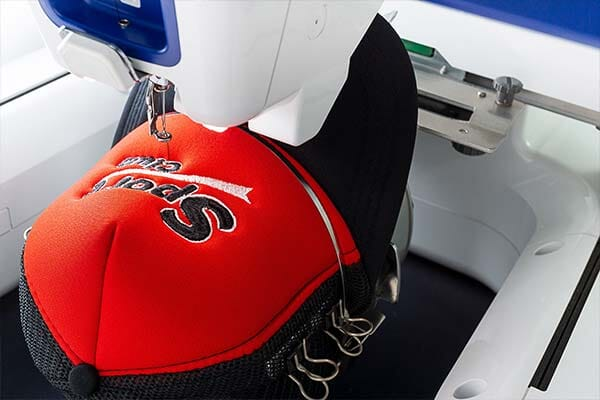 Embroidering logo on hat