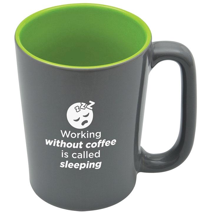 Shiny coffee mug with funny coffee quote