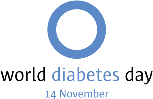 Blue circle logo with text that reads 'World Diabetes Day, 14 November