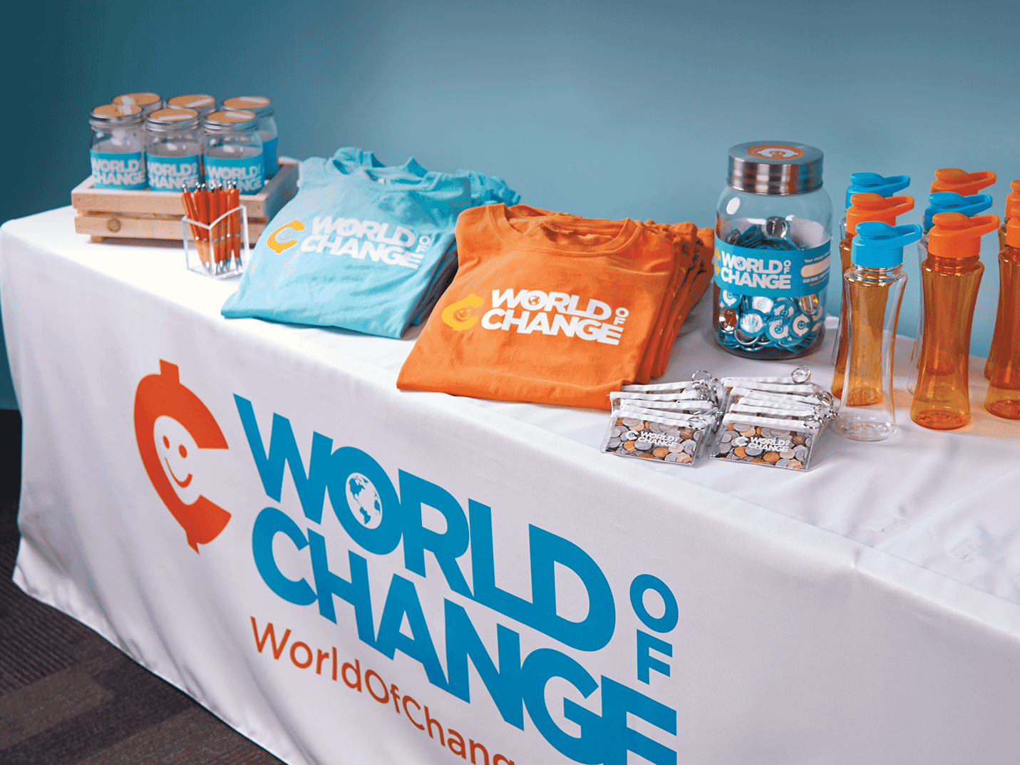 World of Change table of giveaways