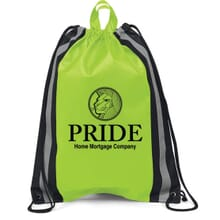 Green drawstring bag with reflective stripes