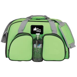 Green duffle bag with gray and black trim and a white logo