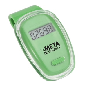 Green and clear plastic pedometer with black logo
