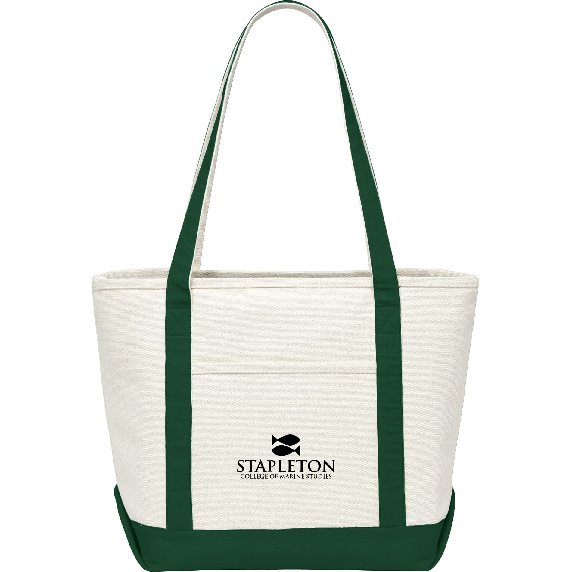 Classic Canvas Tote Bag with Green Accents