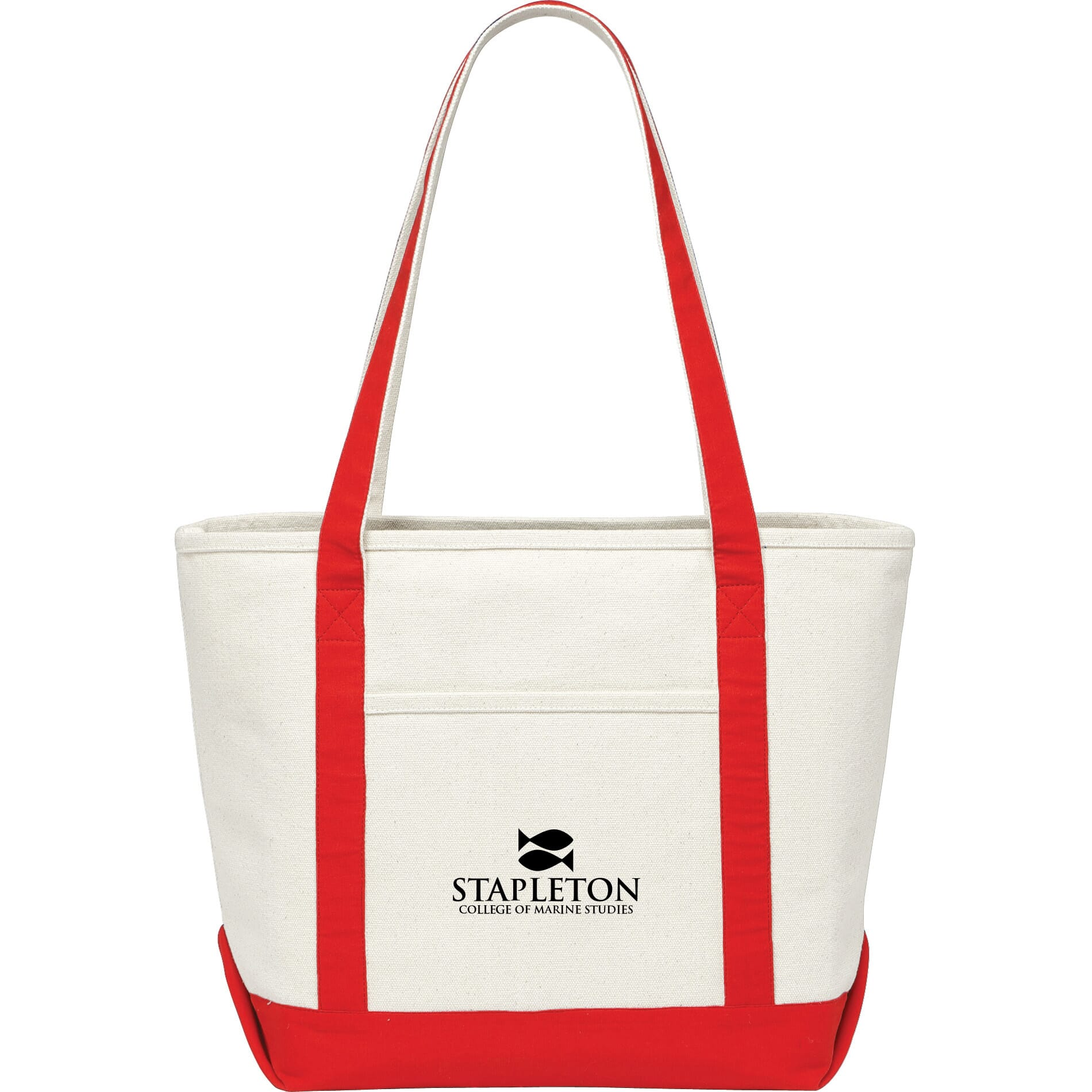 Canvas tote with red accents