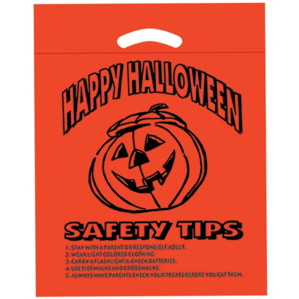 "12"" x 15"" x 3"" Pumpkin Die Cut Plastic Bag with Safety Tips"
