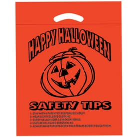 """12"""" x 15"""" x 3"""" Pumpkin Die Cut Plastic Bag with Safety Tips"""