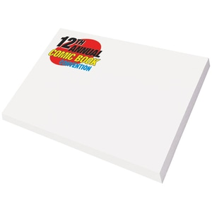 Pack of white Post-it notes with multicolored red, black, yellow and blue logo