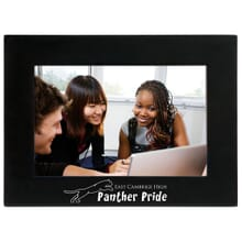 Black picture frame with school logo for graduation gift