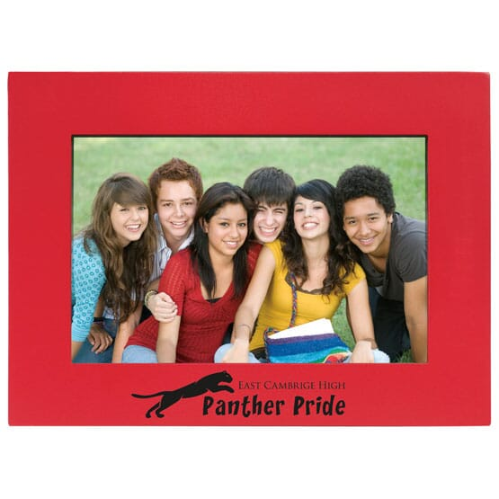 Red photo frame with school logo